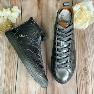 Coach Grey Leather High Top Sneakers 8M